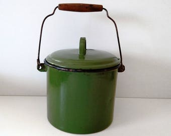 Vintage Old Green Enamel Pot with Lid and Wood Handle