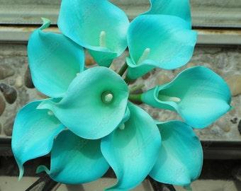 VANRINA Real Touch Flowers Pool Blue Calla Lily Bouquet Artificial Calla Lilies For Bridal Bridesmaids Bouquets MTL-FLN-17-22