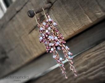 Rose Bronze Cluster Earrings and Garnets by Letemendia Jewelry Handmade