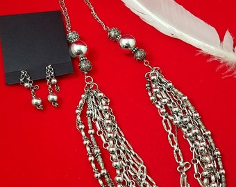 Sterling Silver Multi Chain Necklace and Earrings