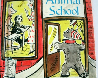 Miss Polly's Animal School, Mary Elting, Wonder Books Easy Reader, Vintage 1960s, 1961