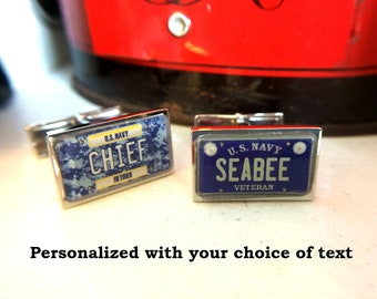U.S. Navy Veteran or Retired Personalized License Plate Cuff Links