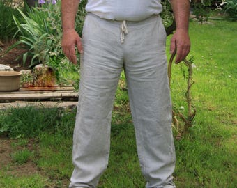 Comfortable men long trousers - 100% natural flax
