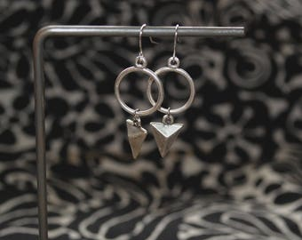 Studded Triangle + Circle Earrings // Turkish Silver