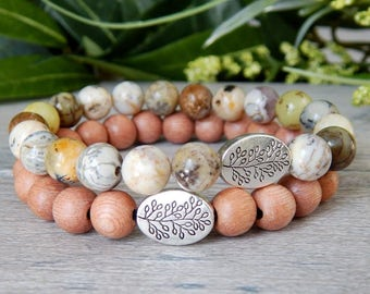 Natural Bracelet,  Nature Jewelry, Gemstone Bracelet, Wood Bracelet, Wooden Bracelet, Stacked Bracelet, Earthy Bracelet, Nature Bracelet