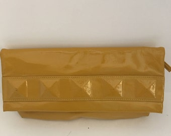 Yellow Clutch, Yellow Clutch Bag, Clutch Bag, Clutch Purse, Vegan Leather Clutch, Bridal Clutch, 1980's Clutch, Yellow and Gray, Yellow Bag
