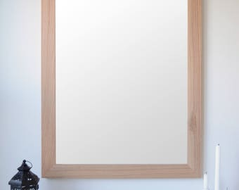 Wooden Mirror - Red Oak Mirror - Wall Mirror - Large Wood Mirror - Rustic Mirror - Farmhouse Mirror - Free Shipping