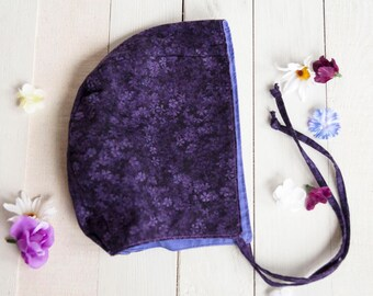 Baby Bonnet, Toddler, Brimless Bonnet, 18-24 Months, Reversible, Cotton, Amish Cap, Baby Shower Gift, Photo Prop, Purple Toddler Bonnet, Cap