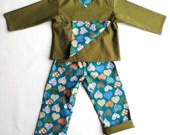 Set/cotton kimono child Pajamas khaki/hearts blue reversible w: 4 years