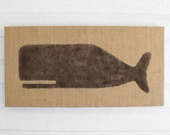 Cachalot Whale  - 12 x 24 Burlap over Cork Message Board, Pin Board, Memo Board, Bulletin Board - Nautical Design