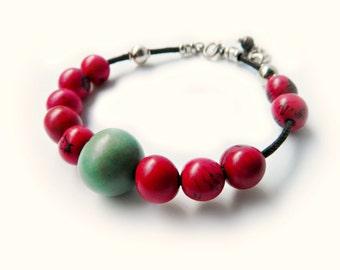 Acai Seed & Sterling Silver Bracelet - berry red / sea foam