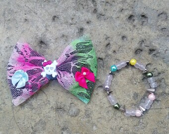 Hair Bow And Bracelet Set, Skulls, Bows, Bows For Girls, Clip On Bow Tie, Bracelet, Girls Accessories, Hair Clip, Colorful Bow, Lace, Bows