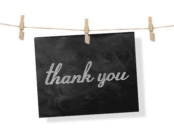 thank you, thank you card, printable, wall art, sign, decoration, cubicle decor,chalk,chalkboard,typography,instant download,black and white