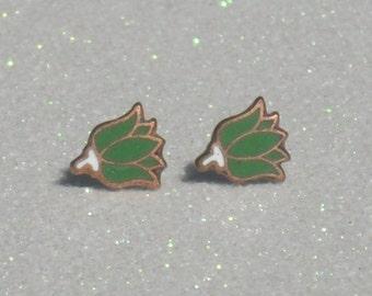 Vintage Green Enameled Copper Tulip Stud Earrings
