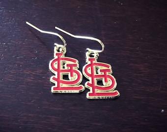 Red STL logo earrings