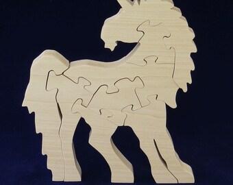 Unicorn in wood,