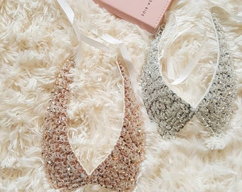 Silver Sequined  Fabric  Choker
