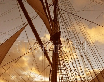 Large Canvas wrap Photography, Sail Boat Photo, Sunset Canvas Big Wall Art Vintage Ocean going Ship Historic Travel Nautical Steamer Brown