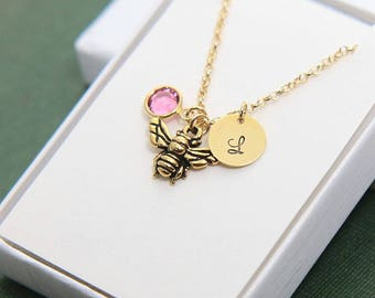 Honey Bee Necklace, Personalized Necklace, Initial Necklace, Birthstone Necklace, Tiny Honey Bee Necklace, Queen Bee Necklace, Mothers gift