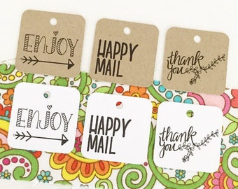 Handrawn Happy Mail Tags / Custom Thank You Tags / Happy Mail Packaging / Party Favor Tags / Gift Wrap & Packaging Supplies