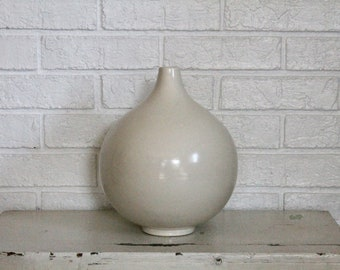 Round, white vase - California pottery