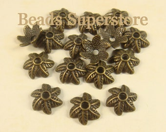 11 mm x 4 mm Antique Bronze 6 Leaf Bead Cap - Nickel Free, Lead Free and Cadmium Free - 20 pcs
