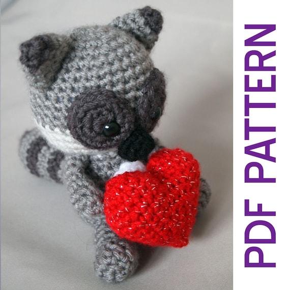 Amigurumi Crochet mapache romántico Woodland peluche juguete