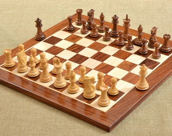 Staunton Chess Set in Shesham Wood Chess Board 15 inches. SKU: D0112
