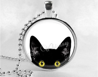 PEEPING TOM CAT Necklace, Black Cat Necklace, Peeking Cat, Cat Jewelry, Cat Charm, Glass Photo Art Necklace Pendant, Black Cat Jewelry