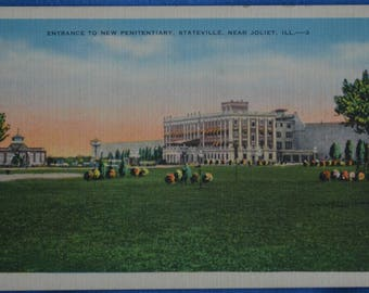 Entrance to New Penitentiary Prison Stateville near Joliet Illinois Linen Postcard