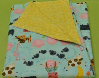 "Extra Large Receiving Baby Blanket (30 x 42""), Nursery Rhyme/Yellow Flannel, Reversible"