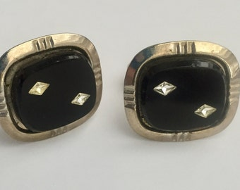 BLACK ONYX CUFFLINKS classic style with inset faux diamonds signed cuff links Gj-108