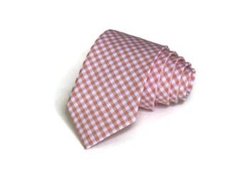 Peach Gingham Necktie~Anniversary Gift~Wedding Tie~Boy Necktie~Mens Necktie~Wedding~Mens Tie~Boy Tie~Mens Gift~Peach Wedding~Peach Tie~Groom
