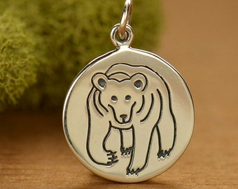 Bear Charm. Sterling Silver Animal Charm. Animal spirit charm add to your charm bracelet or necklace.