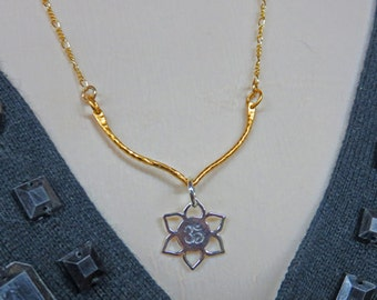 Lotus Necklace - Sterling Silver & Gold Open Lotus Blossom Necklace - Lotus Blossom with Om Pendant