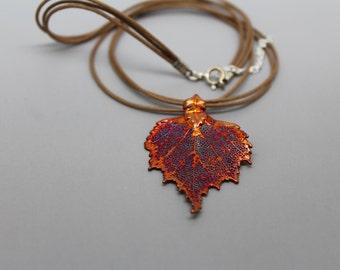 Three Strand Iridescent Birch Leaf Necklace