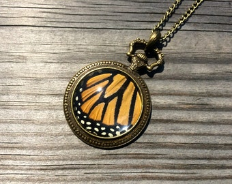 Monarch butterfly REAL insect jewelry Monarch wings Antique Gold Pocket watch vintage Monarch Butterfly necklace Curiosities and oddities