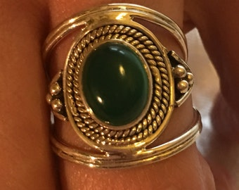 Green onyx earring natural, 925 silver sterling ring / size 57