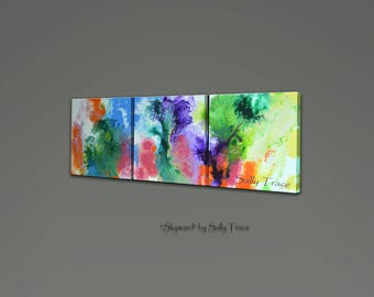 Canvas giclee prints, triptych wall art, from my original abstract fluid triptych painting, extra large wall art
