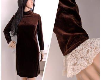 Vintage 60s Brown Velvet Frilly Cuff Mini Shift Dress Mod Psych / UK 10 12 / EU 38 40 / 6 8