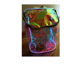 Holographic Light Up Festival Backpack - Transparent, Iridescent, Rainbow, Orange, Gold, Purple, Green