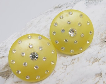 Large Rhinestone Yellow Button Earrings Lucite Mid Century Jewelry