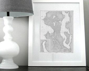 Seattle and Lake Washington Nautical Chart Map 1948 Grey DIGITAL PRINT for Download 16 x 20, Map Art Prints, Printable Art, Chart Maps