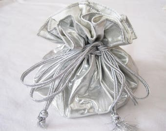 Silver Shiny Jewelry Drawstring Pouch, Travel Jewelry Bag, Light Grey Jewelry Organizer, Bridal Shower, Bridesmaids Gift, Mothers Day Gift