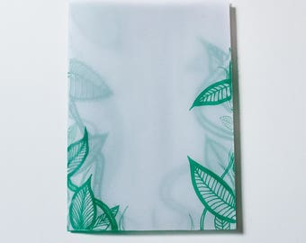 Inside - art zine made from tracing paper, full of layered illustrations of a mysterious forest. A6 beak book.