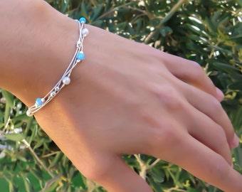 blue Opal bracelet, opal bead bracelet, opal silver bracelet, opal jewelry, tiny opal bracelet, beaded bracelet, minimal bracelet