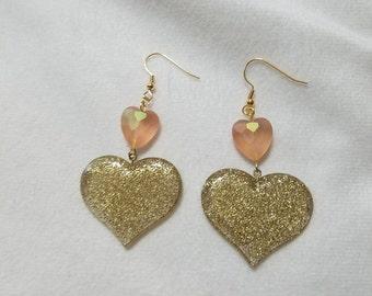 Peach & Gold Glitter Heart Earrings