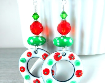 Christmas Wreath Dangle Earrings, White Red Green Floral Enameled Copper Earrings,  Boho Chic Statement Earrings, Holiday Party Jewelry