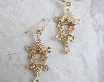 Hand Woven 14kt Wire Earrings- Scroll Double Drop Triangle Ojos Earrings