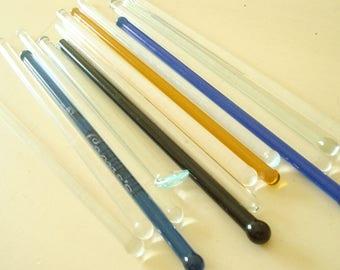 Vintage glass swizzle sticks, 14 cobalt, gold, black & clear handblown glass stir sticks, Leone's Restaurant, swanky barware, glass muddler